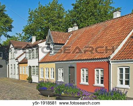 Stock Photography of Odense Old Town, Hans Jensens Street, Odense.