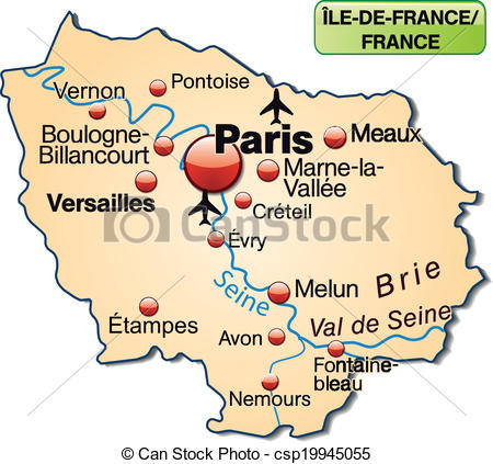 Clipart Vector of Map of Ile.