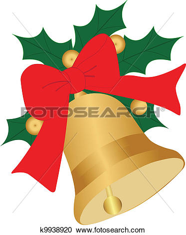 Clipart of Christmas Bell with ribbon and Ilex k9938920.