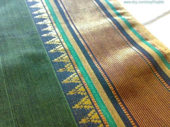 Indian Cotton Sari Fabric, Green Ilkal Saree, Embroidered Saree.