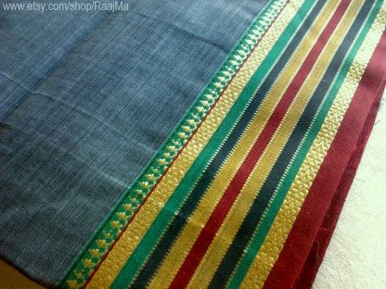 Gray Indian Ilkal Sari Fabric By Yard Ethnic Fabrics by RaajMa.