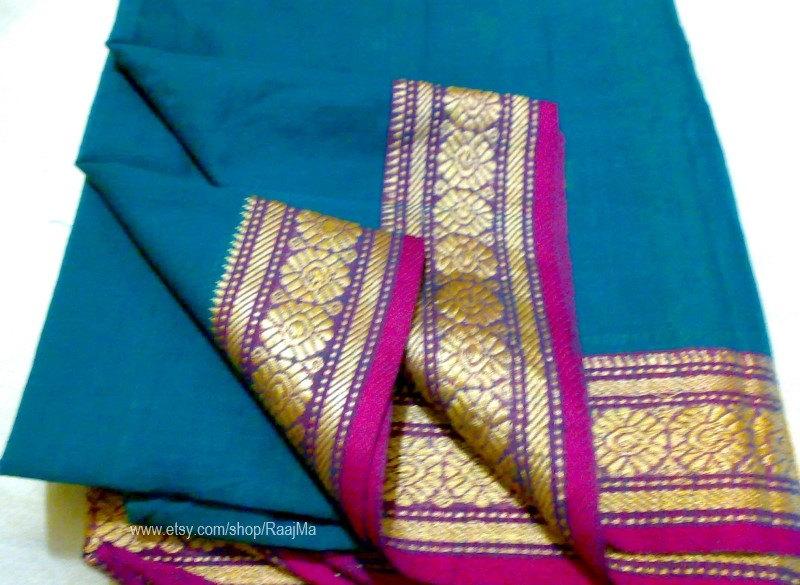 Indian Ilkal Sari Fabric Paisley Handloom Cotton Fabric by RaajMa.