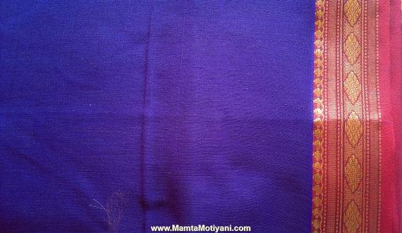 Purple Ilkal Sari Fabric Indian Cotton Polyester Fabric by RaajMa.