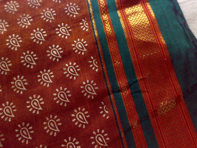 Rust Brown Gold Indian ILKAL Handloom Cotton Sari by RaajMa.