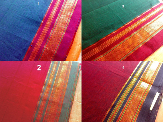 Reserved For Cat Indian Handloom Cotton Sari Fabric by RaajMa.