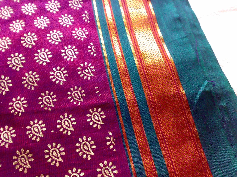 Magenta Green Gold Indian ILKAL Handloom Cotton Sari by RaajMa.