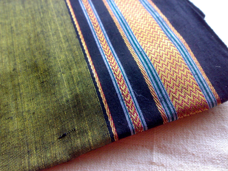 Asparagus Indian ILKAL Green Handloom Cotton Sari by RaajMa.