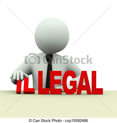 Stock Illustration of 3d business man illegal legal words.