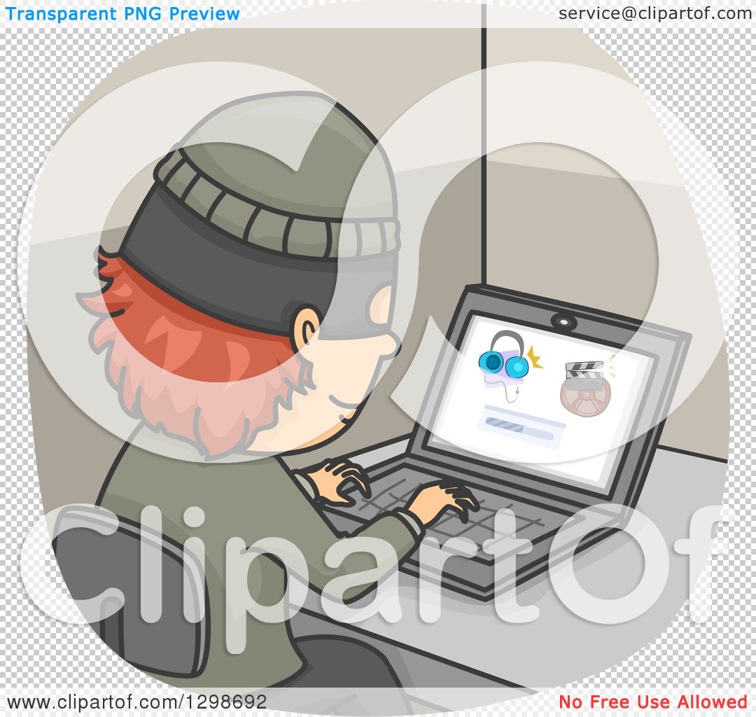 Clipart of a Thief Illegally Downloading Internet Files.