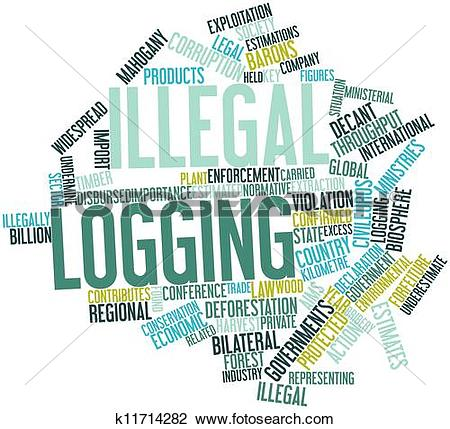 Clip Art of Illegal logging k11714282.