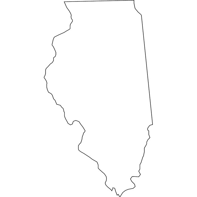 OUTLINE VECTOR MAP OF ILLINOIS.