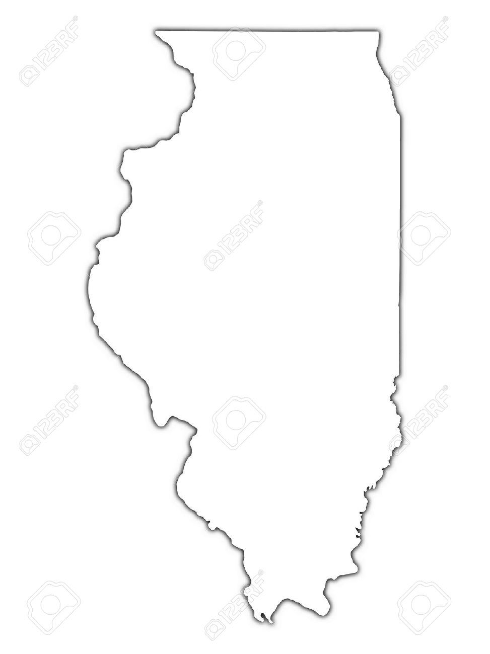 Illinois (USA) Outline Map With Shadow. Detailed, Mercator.
