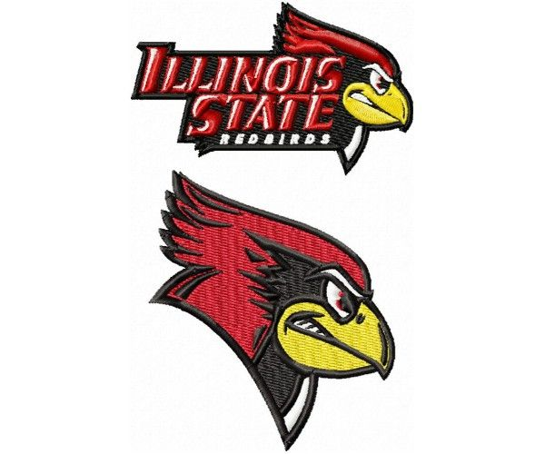 Illinois State Redbirds logos machine embroidery design for.