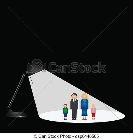 Clipart Vector of family in the spotlight.