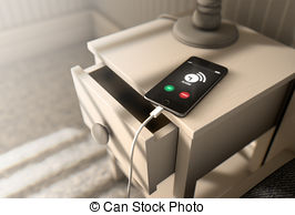 Clipart of Incoming Call Cellphone Next To Bed.