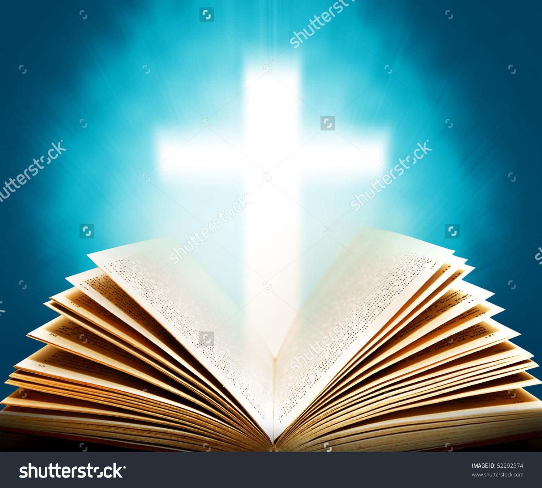 Old Bible Illuminated Cross Stock Photo 52292374.