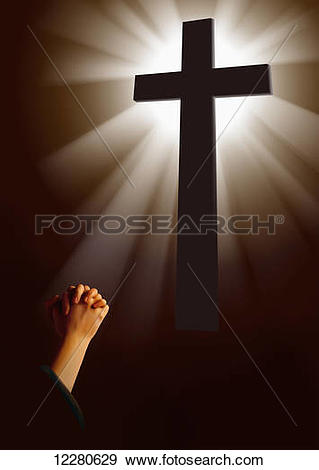 Stock Photograph of Cross illuminated by light and praying hands.