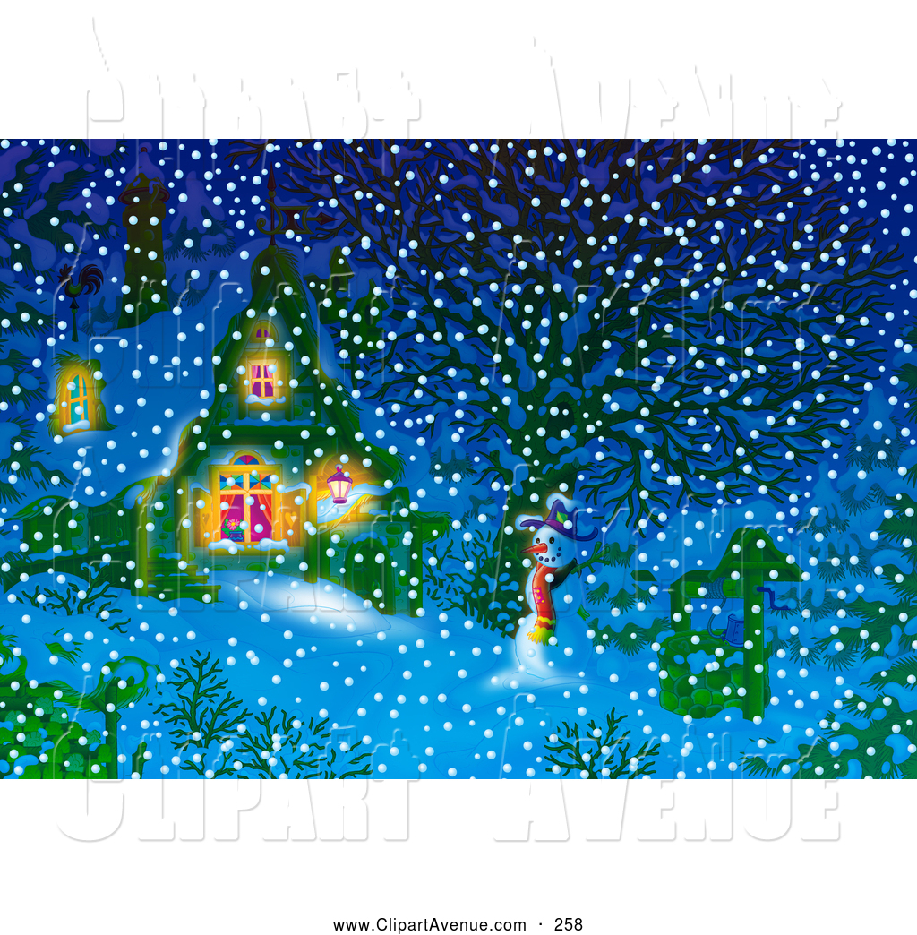 Snowy House Inside For Background Clipart.