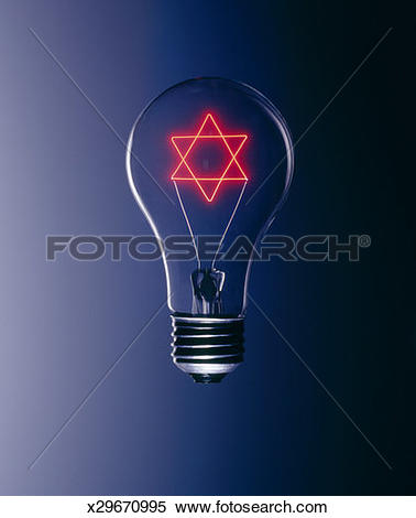 Stock Image of Light bulb with Star of David illuminated inside.