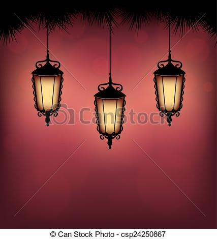 Clip Art Vector of lanterns with pine on red.