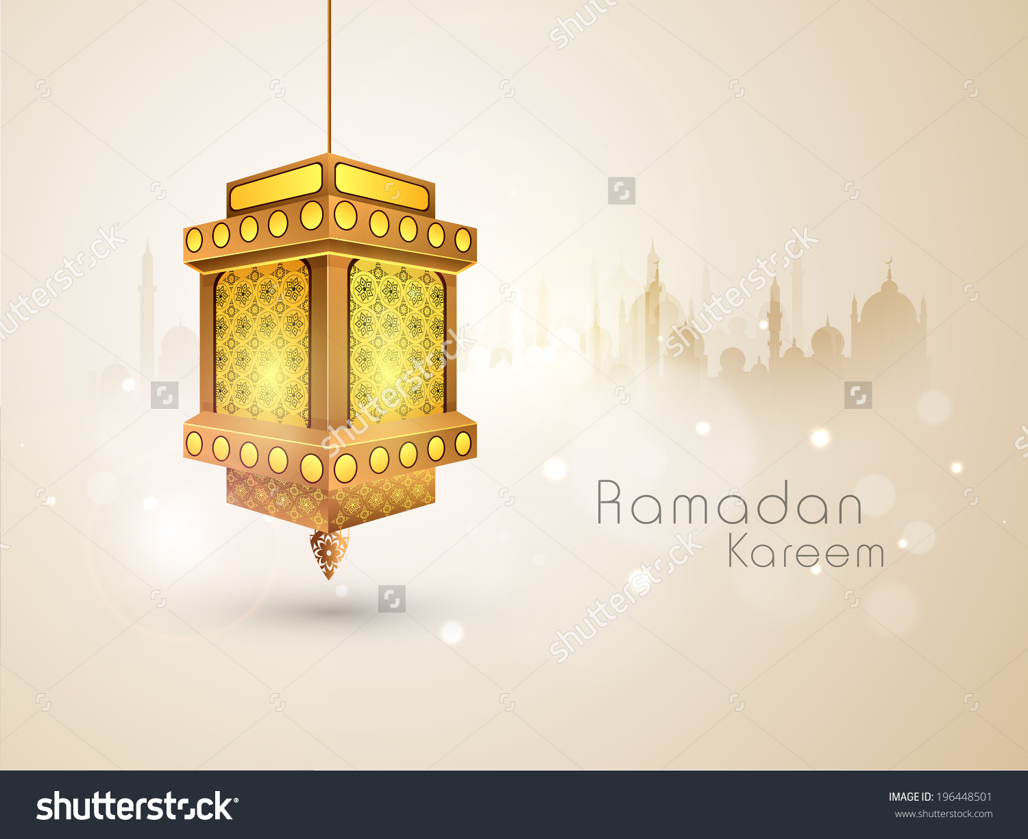 Illuminated Arabic Lantern On Mosque Silhouetted Stock Vector.