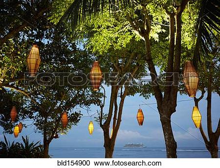 Stock Photography of Illuminated lanterns hanging from trees near.