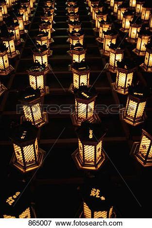 Picture of Illuminated lanterns arranged in rows, Miyajima, Japan.