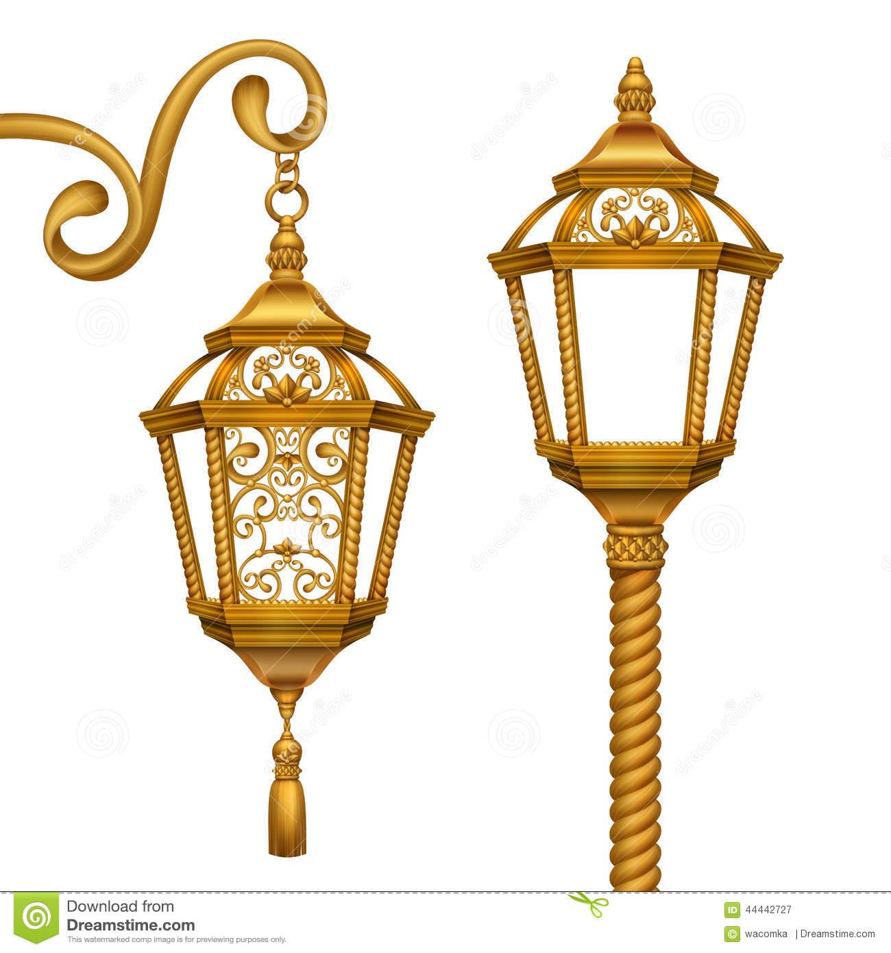 Gold Christmas Lanterns Clip Art Illustration, Vintage Design.