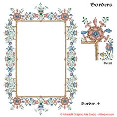 Renaissance Illuminated Manuscripts Borders & Letters Clip Art EPS.