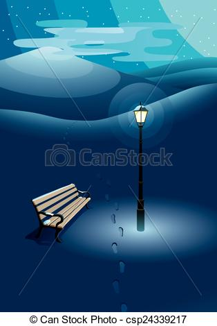 Vector Clip Art of Winter landscape with street lamp illuminating.