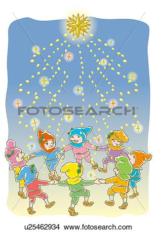 Drawings of Painting of Children dancing under Illumination.
