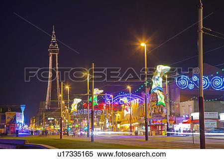 Stock Image of England, Lancashire, Blackpool. View along the.