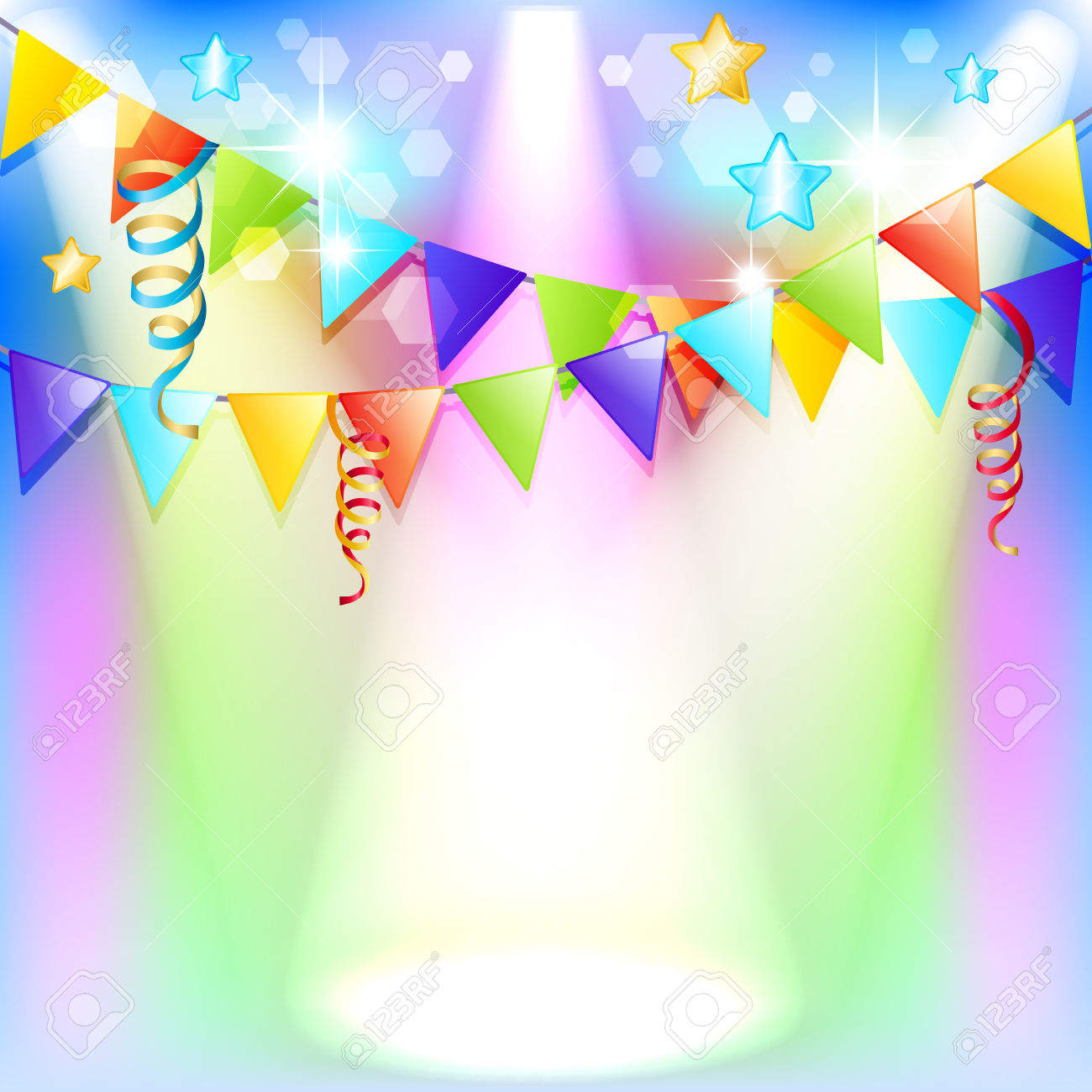 Festive Background With Flags And Illuminations Royalty Free.