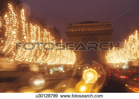 Stock Photograph of Christmas Illuminations On Champs.