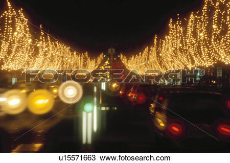 Stock Photo of Christmas Illuminations On Champs.