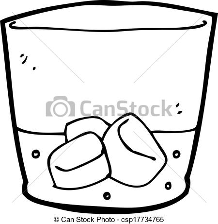 Clip Art Vector of cartoon whiskey in glass csp17734765.