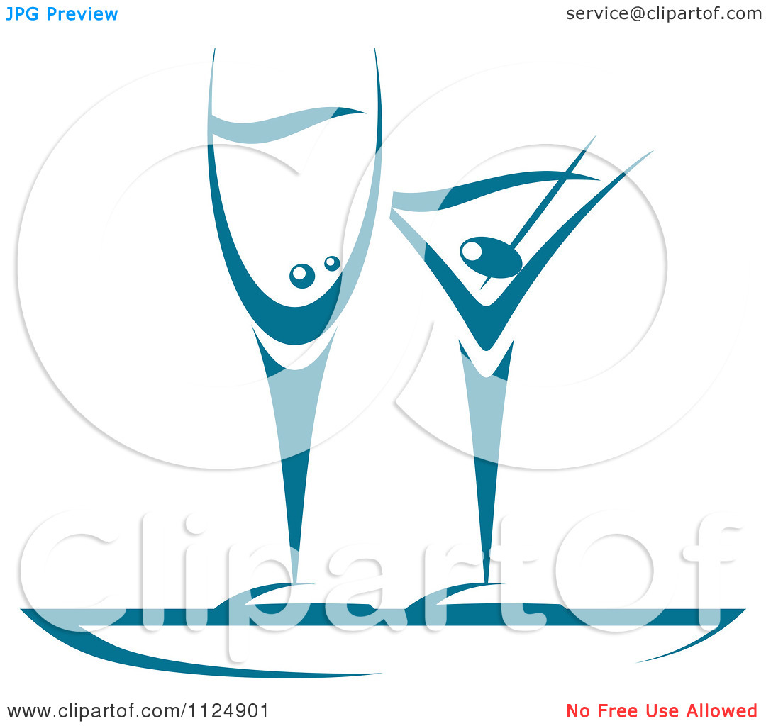 Clipart Of Teal Champagne And Martini Glasses.