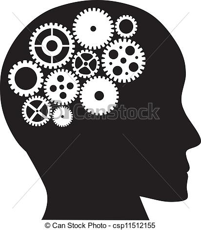 Clipart Vector of Human Head with Mechanical Gears Illustration.