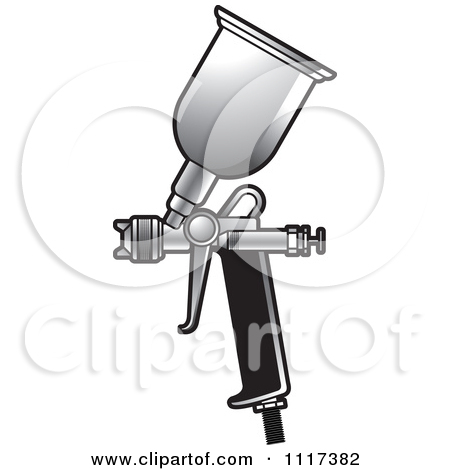 Clipart Of An Outlined Spray Painting Gun.