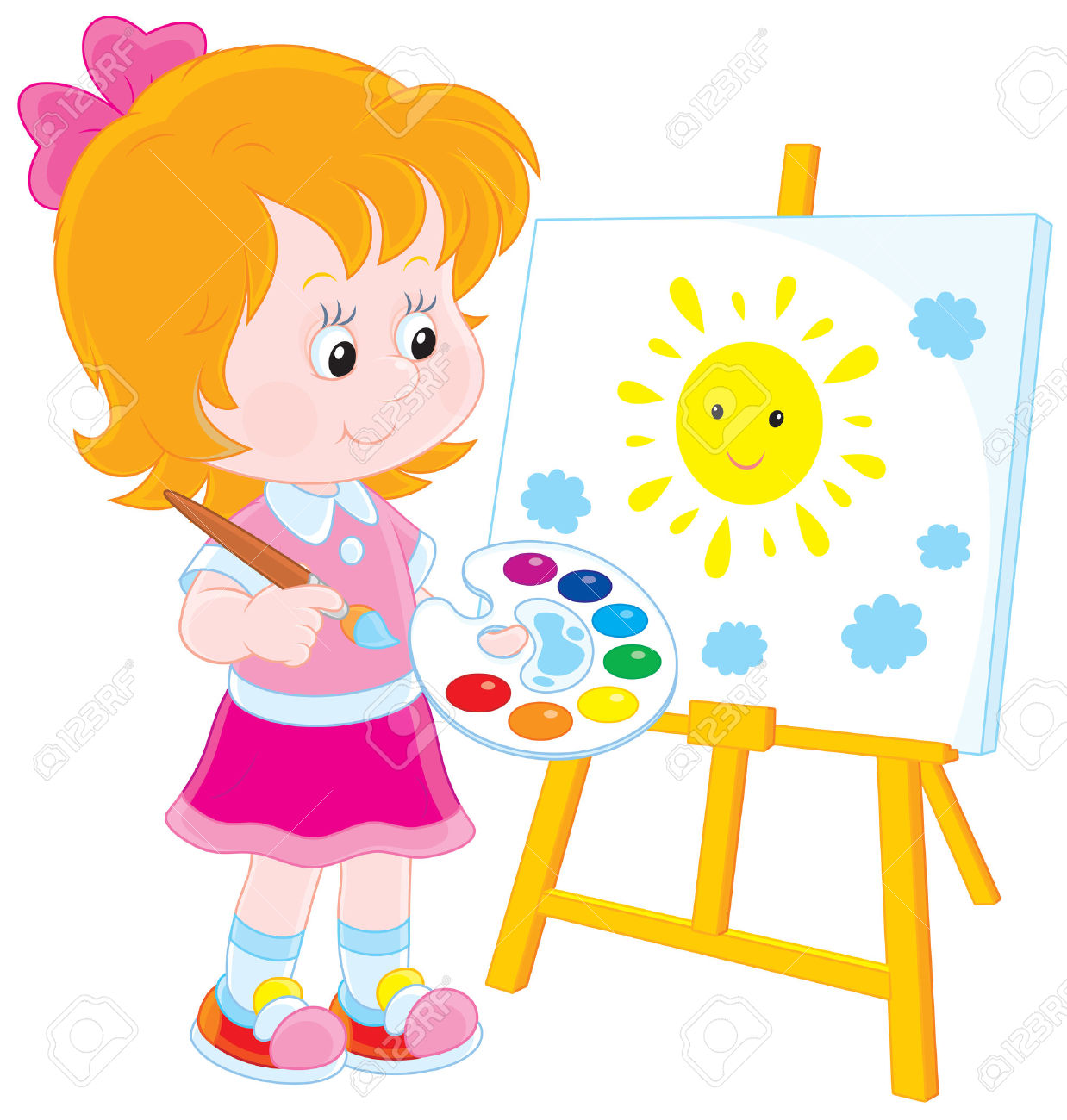 4508 easel stock vector illustration and royalty free easel clipart - Children Drawing Pictures For Painting