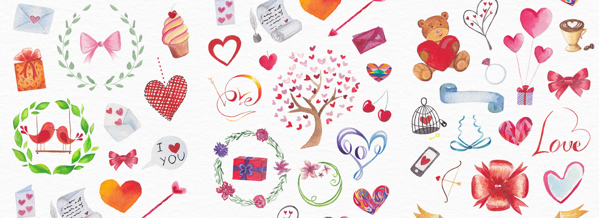 Free Watercolors: Backgrounds, Patterns, Objects, Logos.