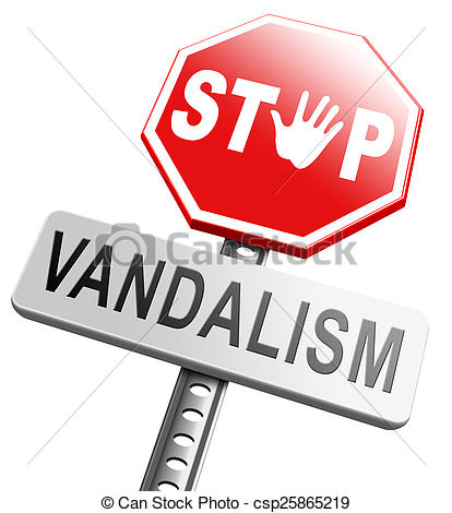 Clipart of stop vandalism deliberate destruction of or damage to.