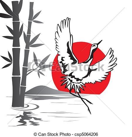 Clip Art Vector of japanese crane.