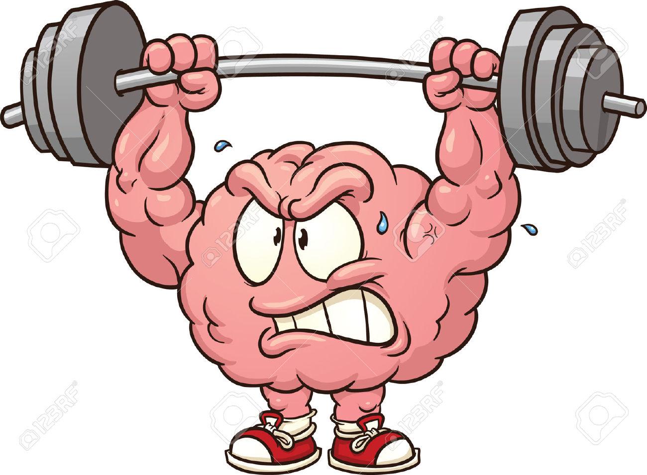 Strong Weightlifting Brain Clip Art Vector Cartoon Illustration.