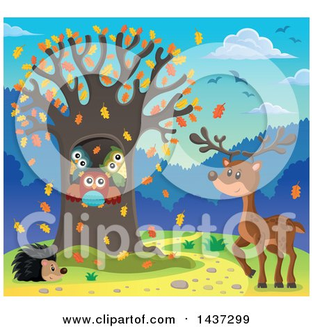 Cartoon of a Tree Being Stripped of Autumn Leaves in a Breeze.