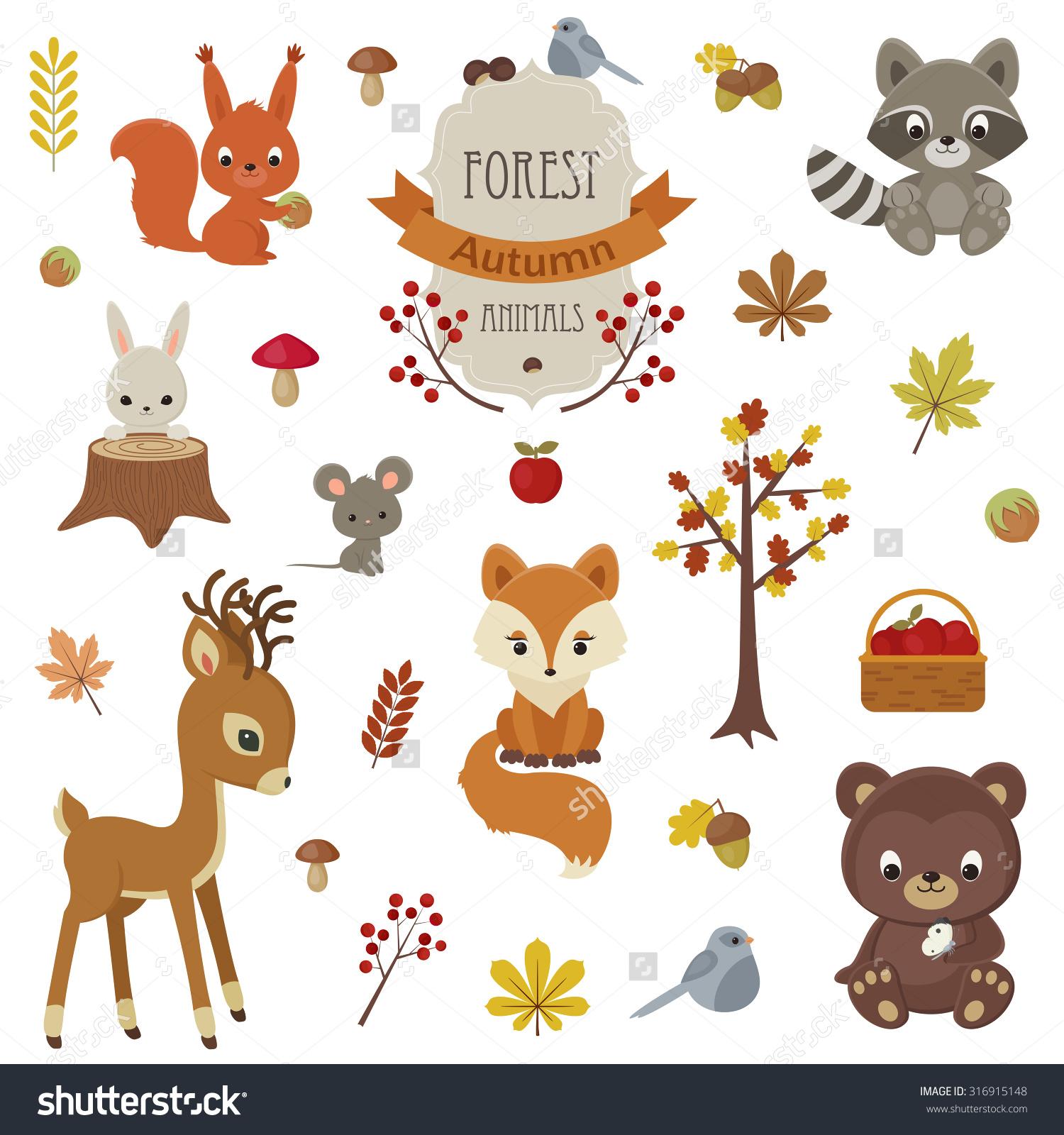 Woodland Animals Autumn Time Raccoon Bunny Stock Vector 316915148.