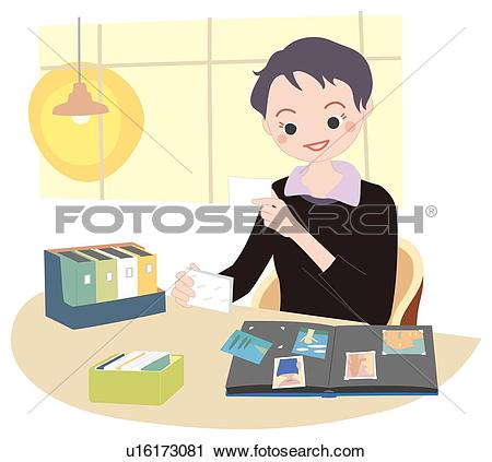Clipart of Woman Who Organizes an Album, Illustrative Technique.
