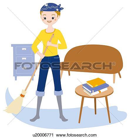 Clipart of Cleaning, Illustrative Technique u20006771.