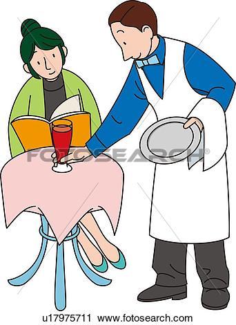 Clipart of Waiter, Illustrative Technique u17975711.