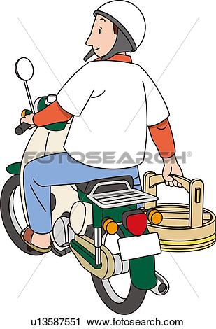 Clipart of Delivery Service of Japanese Sushi, Illustrative.